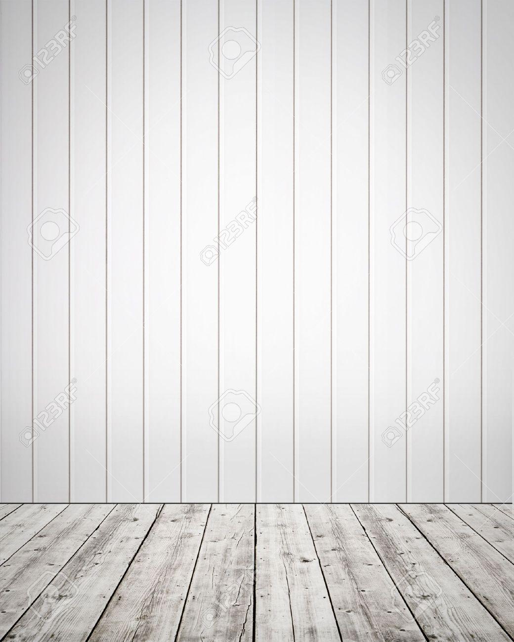 Gut gemocht Weiße Kunststoff-Wand Mit Holzboden-Hintergrund Lizenzfreie Fotos AI41