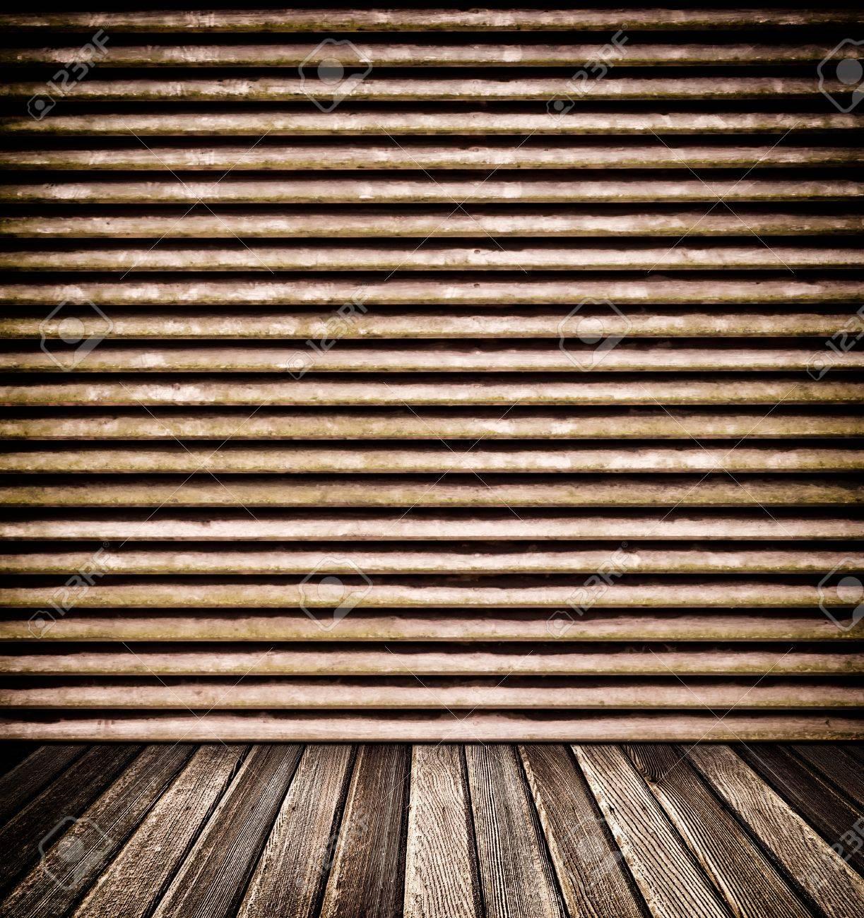 pared decorativo de madera y piso para el fondo foto de archivo