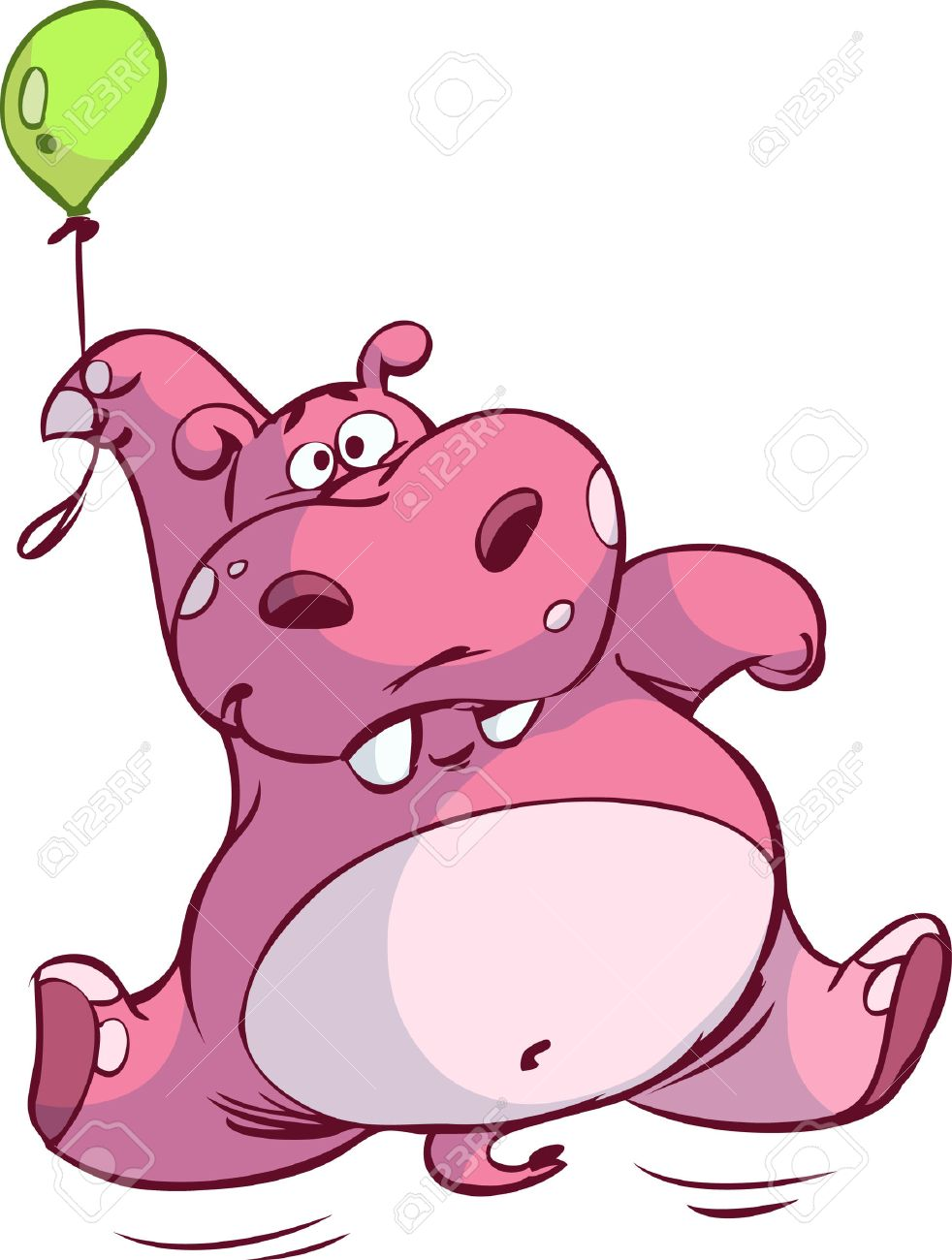 cute pink hippo floating on balloon Stock Vector - 6494089