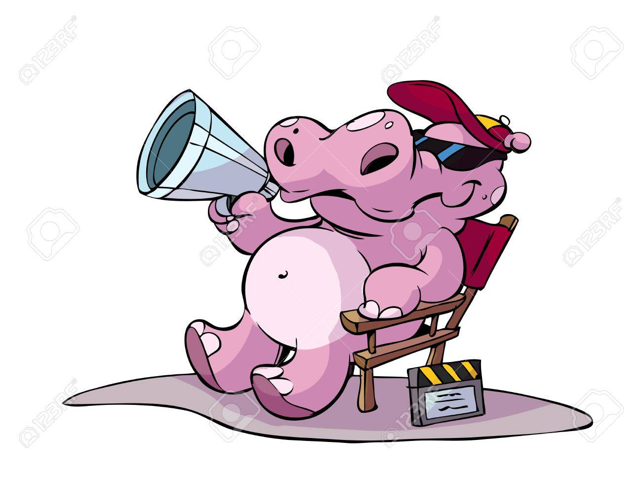 hippo director sitting in his chair Stock Vector - 7247720