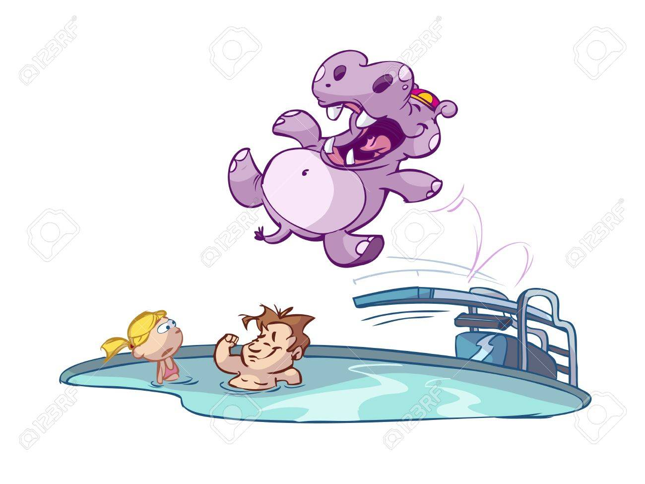Hippo jumping in pool with kids Stock Vector - 7247732