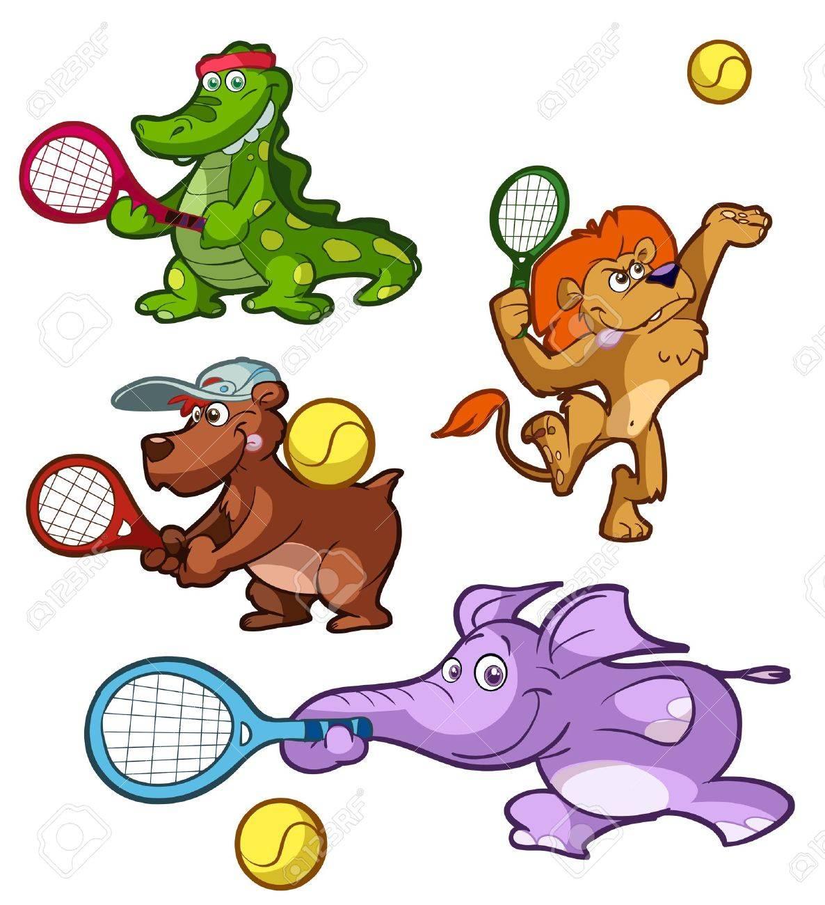 una colección de animales jugando al tenis Foto de archivo - 11966409