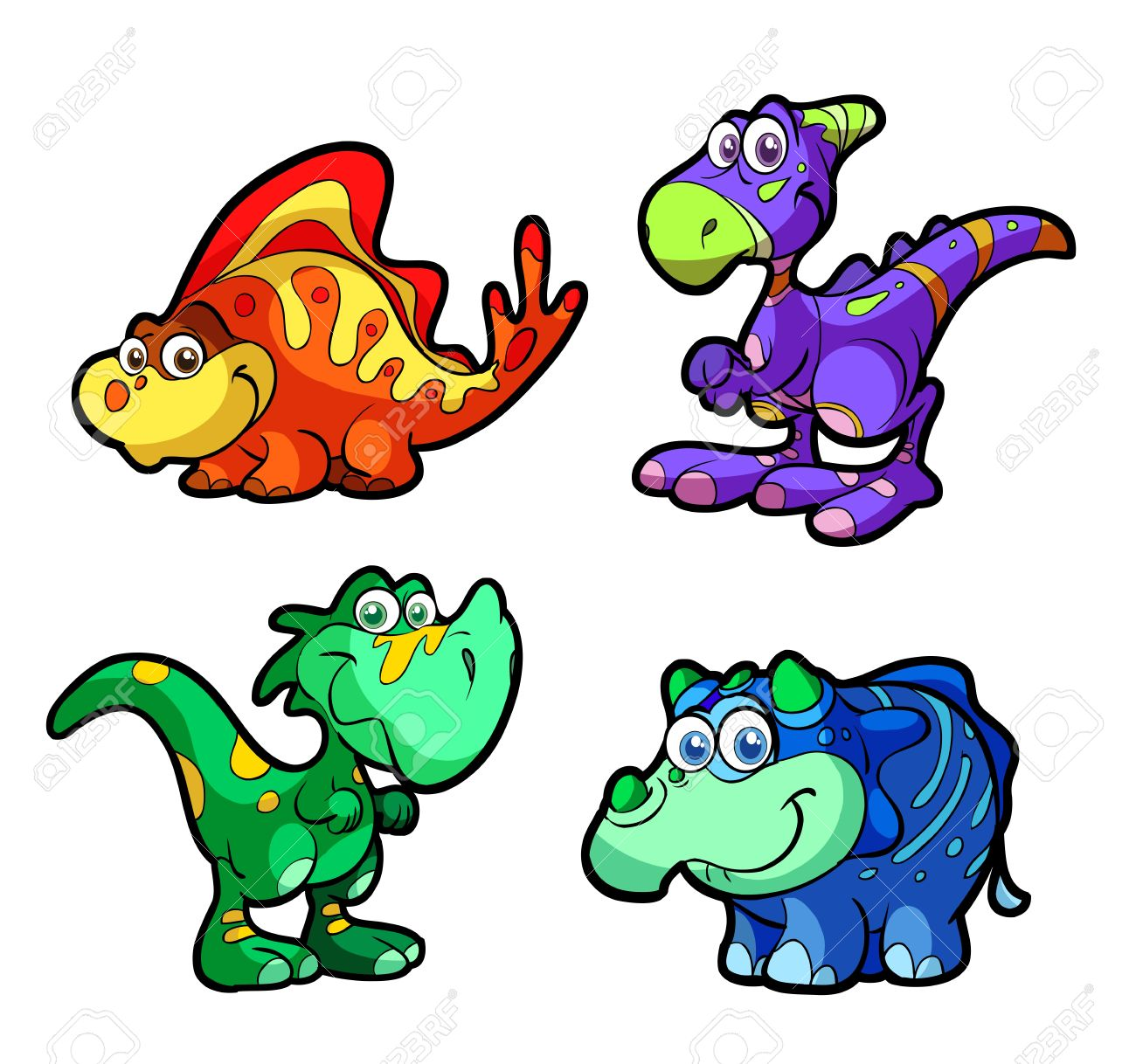 Collection Of Cute Baby Dinosaurs Royalty Free Cliparts, Vectors ...