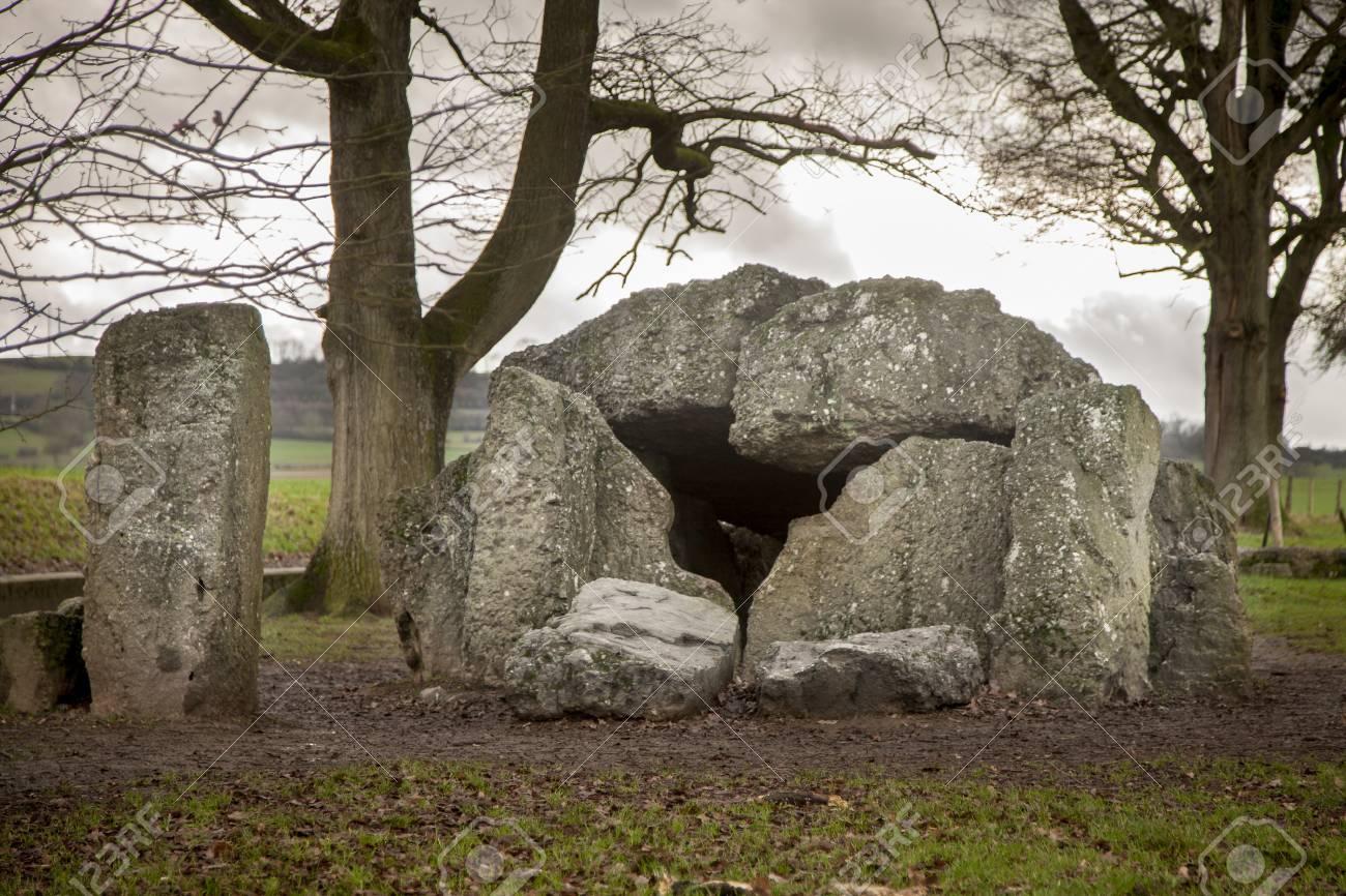 dolmen and menhir in Wéris in Belgium - 92732245