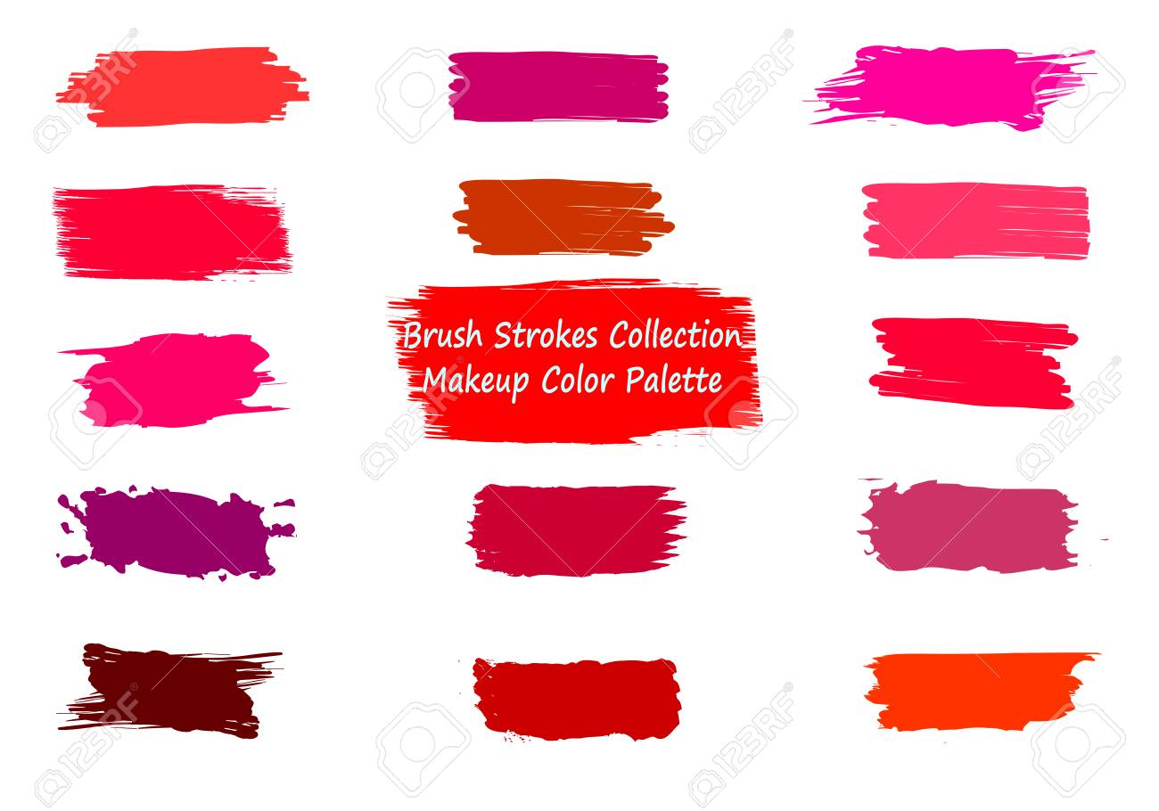 Label brush strokes. Watercolor background. Textured elements. Grunge brush strokes set. Colorful liquid elements collection. Paint smudges. Red, pink, violet lipstick spots. Ink drawn label patch - 126208139