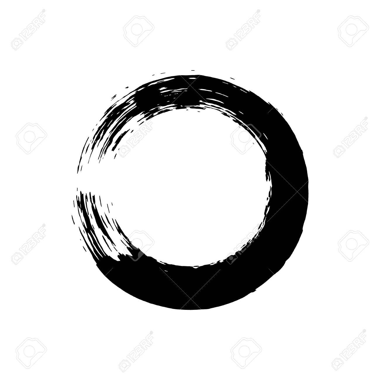 Enso symbol vector design. Chinese style illustration. emblem design. Brush drawn buddhist sign. Fine art element. Stroke round shape. Enso - buddhist symbol. Black brushed circle. - 154837098