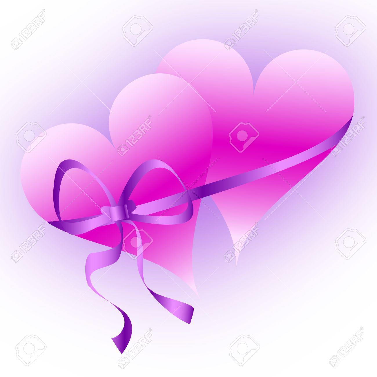 dos corazones rosas atados con una cinta trama brillante prpura foto de archivo 8994671
