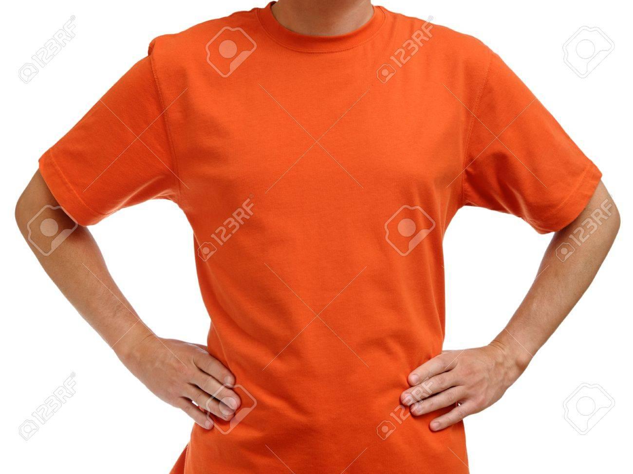 Orange t-shirt on young man isolated on white background - 10479224