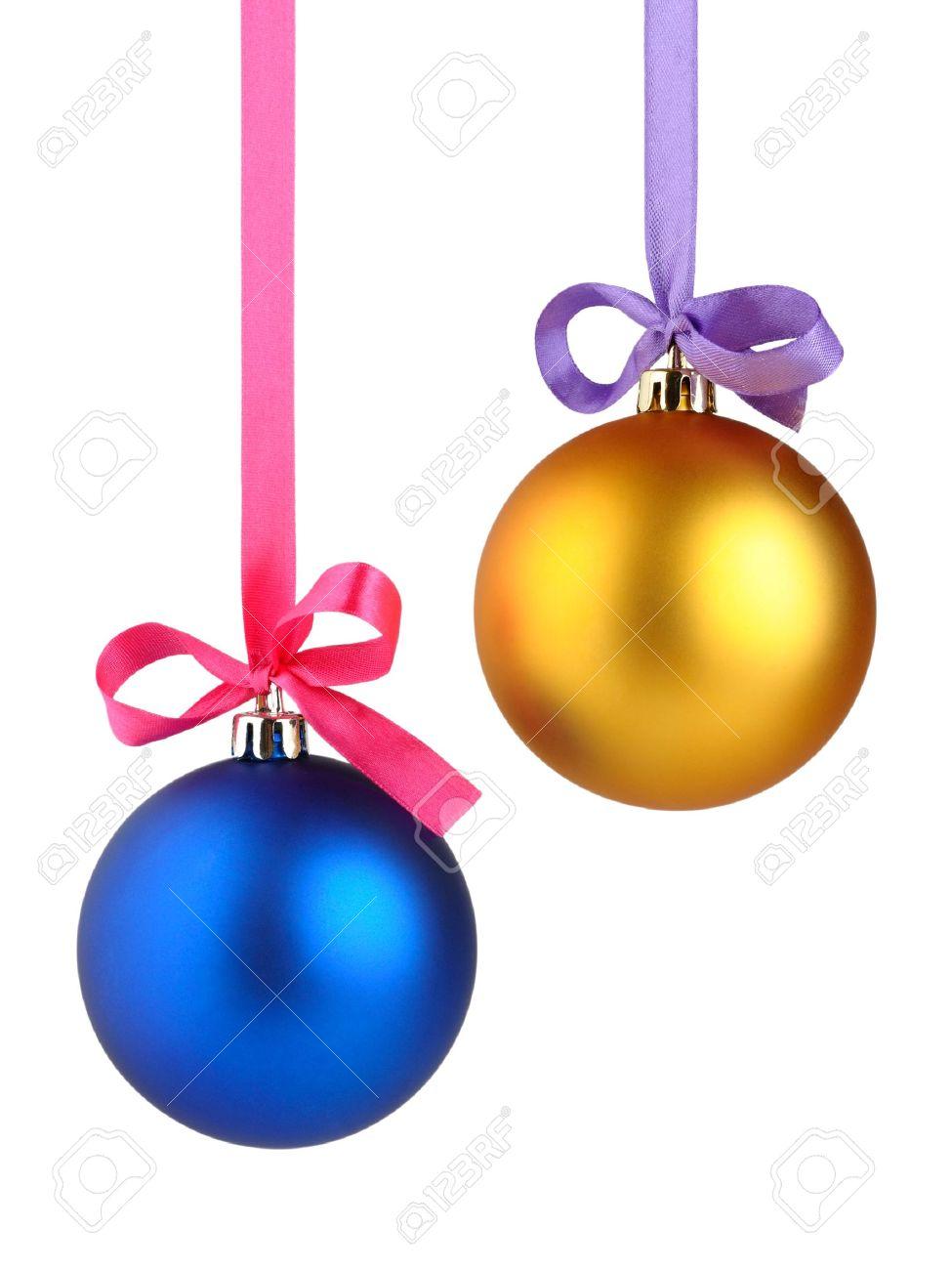 Christmas balls hanging on ribbon isolated on white background - 10858229