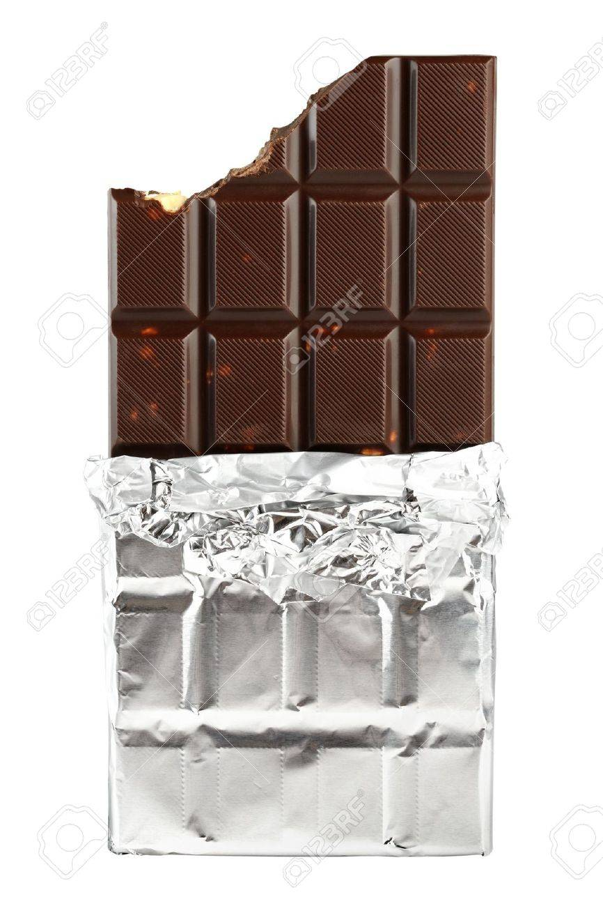 Chocolate bar in foil isolated on white background - 13160714