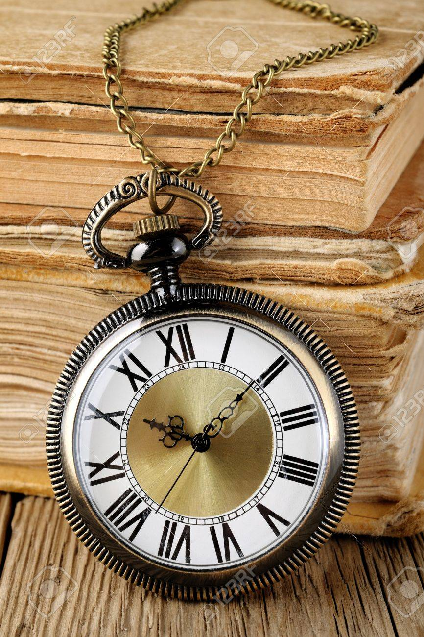 Antique watch and books - 17442369