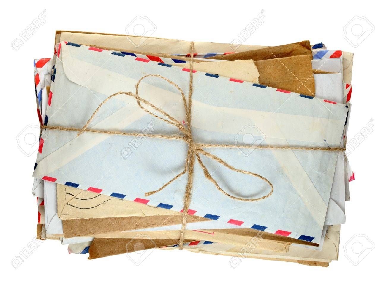 Pile of old envelopes isolated on white background - 18001363