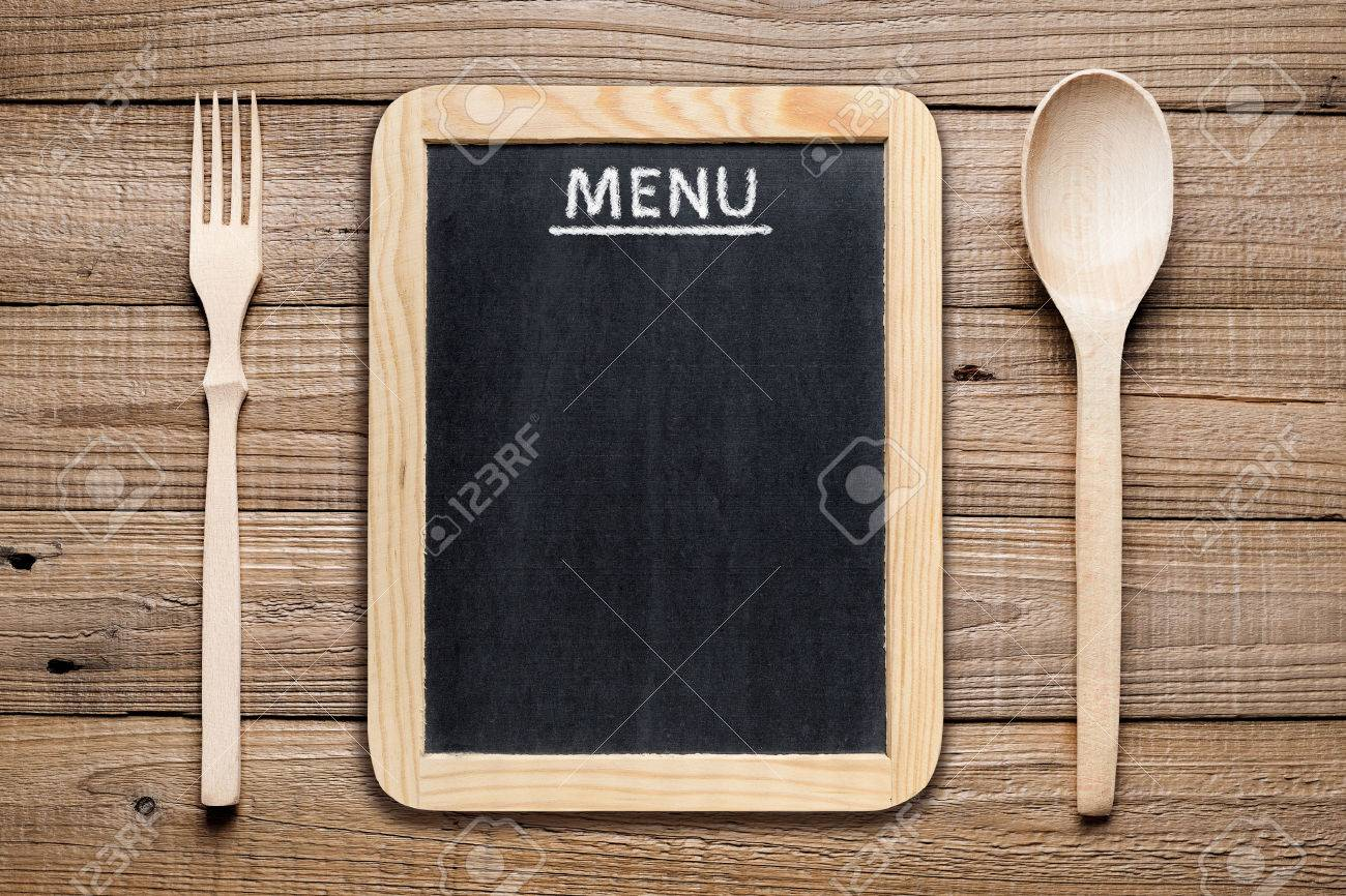 Menu board, wooden fork and spoon - 35154617