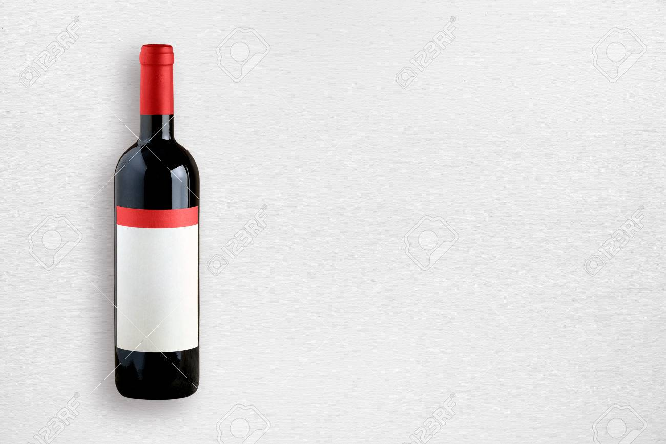 Wine bottle on white table top view - 47675153
