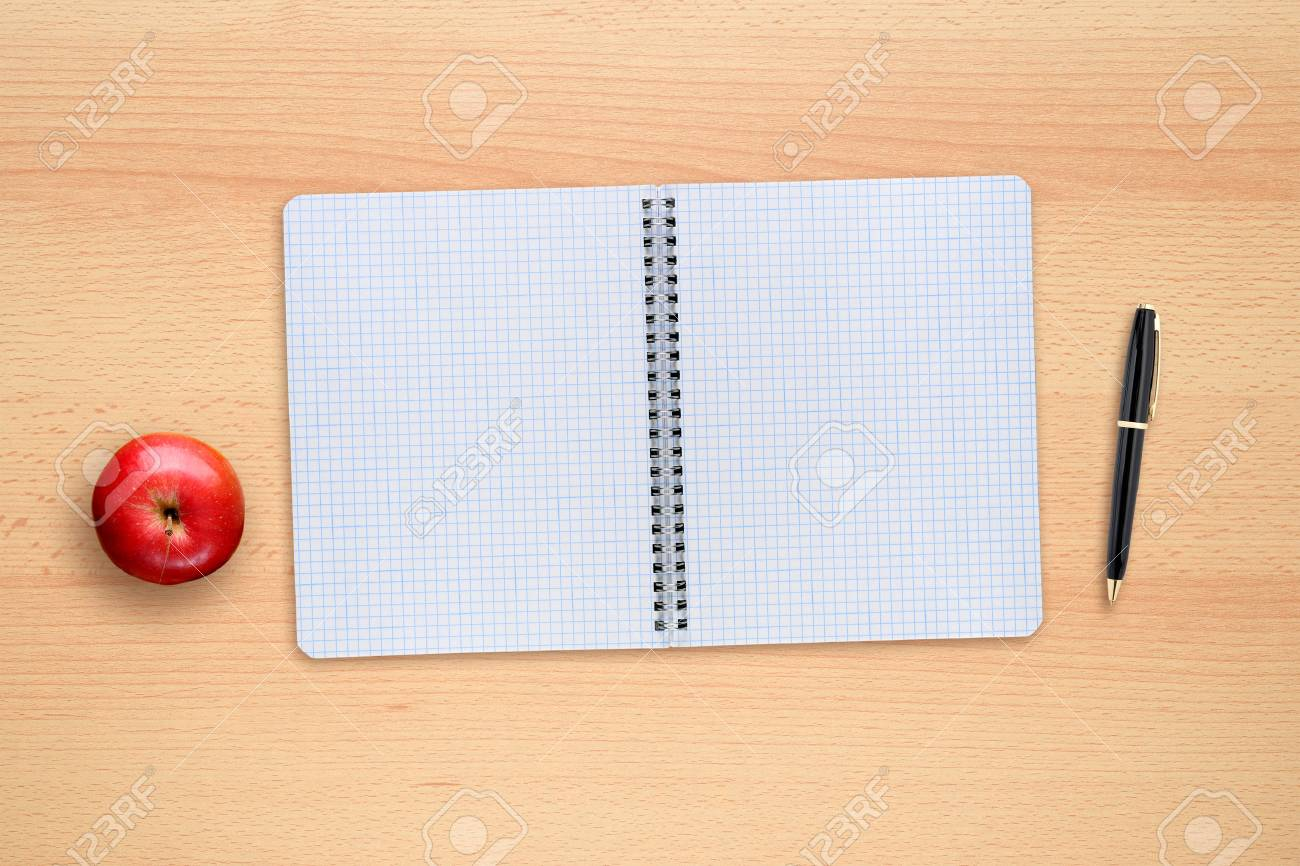 Merveilleux School Copybook, Pen And Apple On Desk Top View Stock Photo   61725744