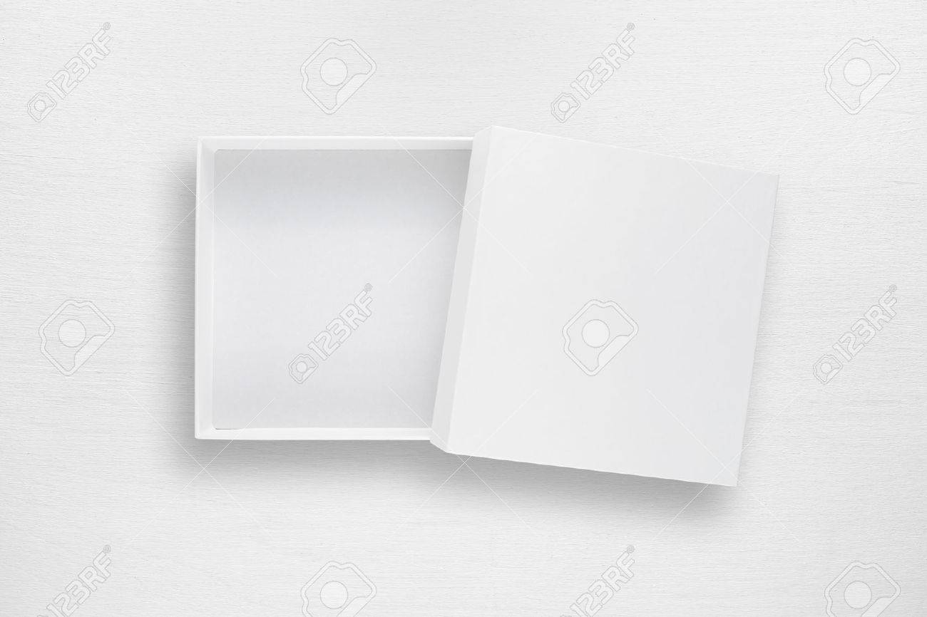 Cardboard box with cover on white table top view - 66481122