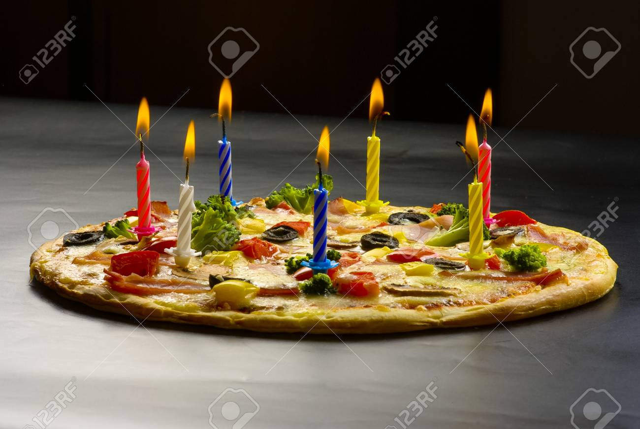 Festive Candles Pizza With Ham Mushrooms Cauliflower Olives
