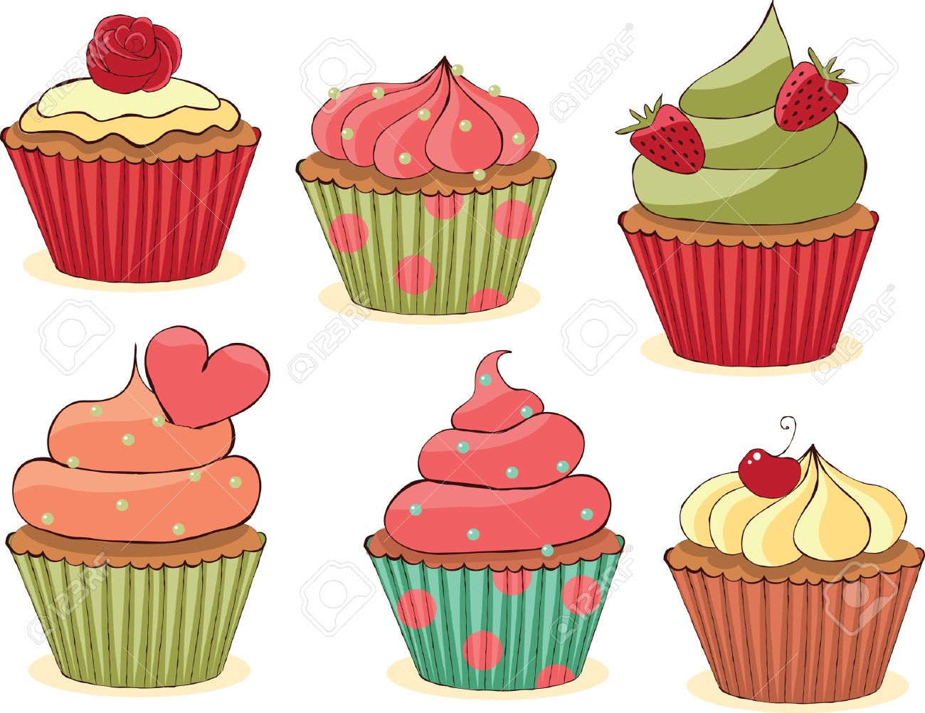 Sketchy yummy cupcakes set. CMYK with global colors vector illustration. Stock Vector - 10414444