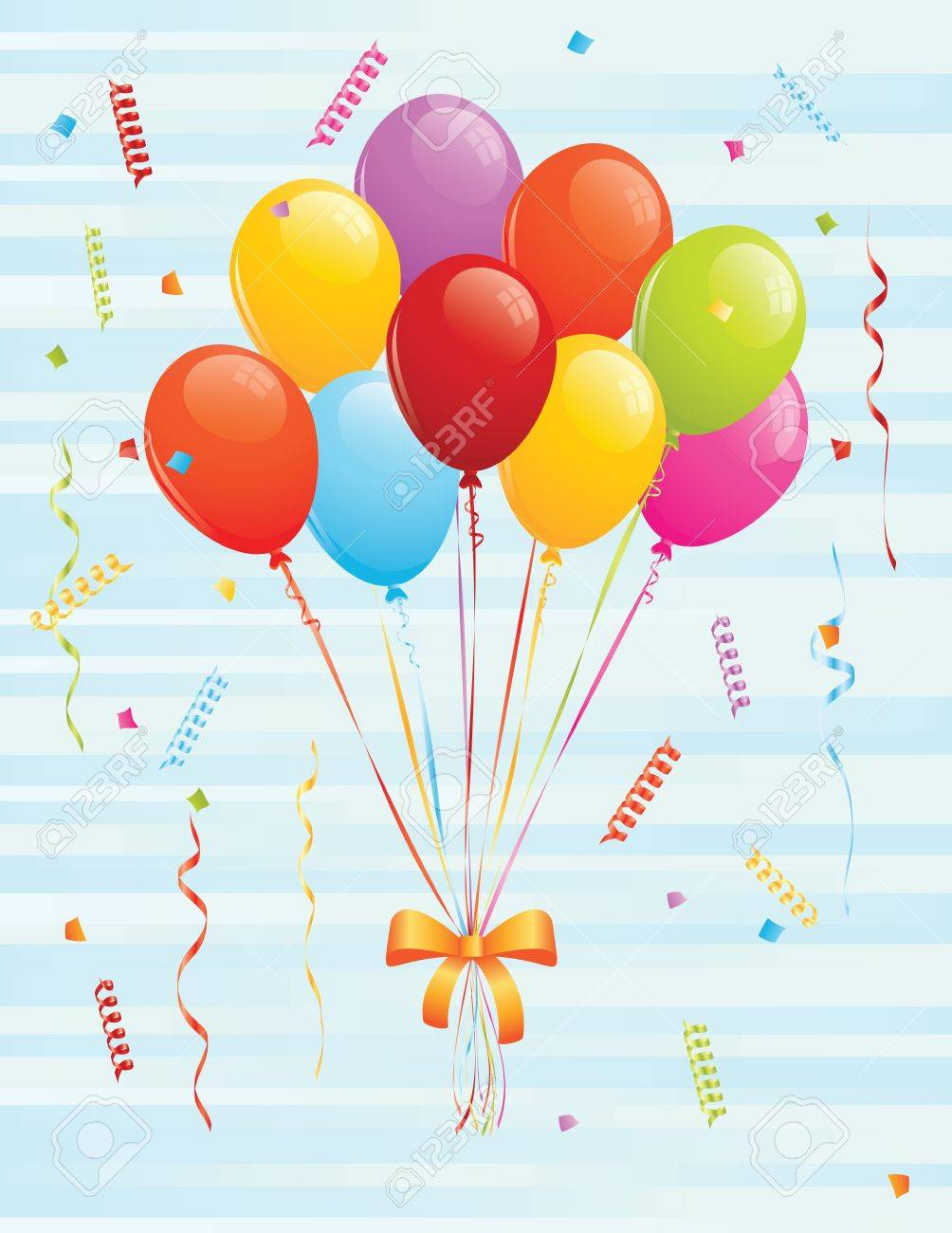 Bunch of balloons and confetti. EPS 8 CMYK with global colors vector illustration. Stock Vector - 10442254