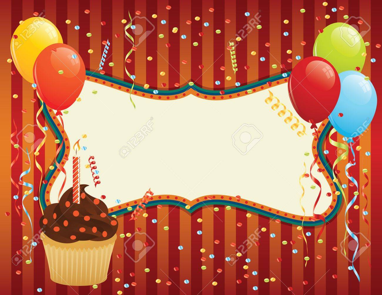 Birthday Card with cupcake, balloons and confetti. CMYK EPS 8 with global colors vector illustration. Stock Vector - 10442258