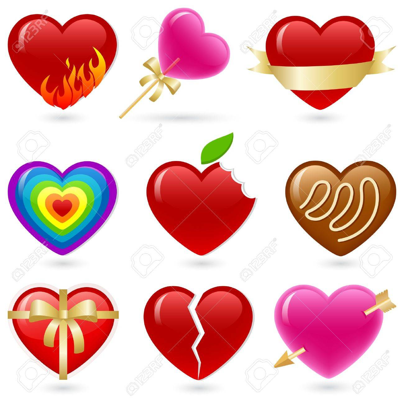 valentine u0027s heart shaped icon set royalty free cliparts vectors