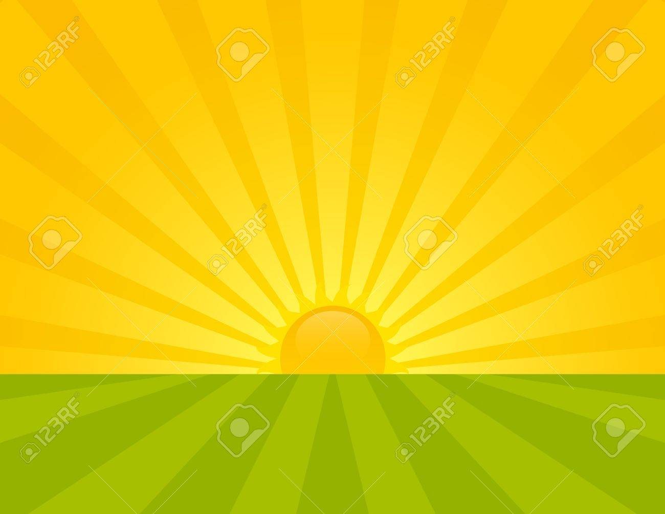 Sunrise on the countryside. Summer sunny day. Stock Vector - 10617685