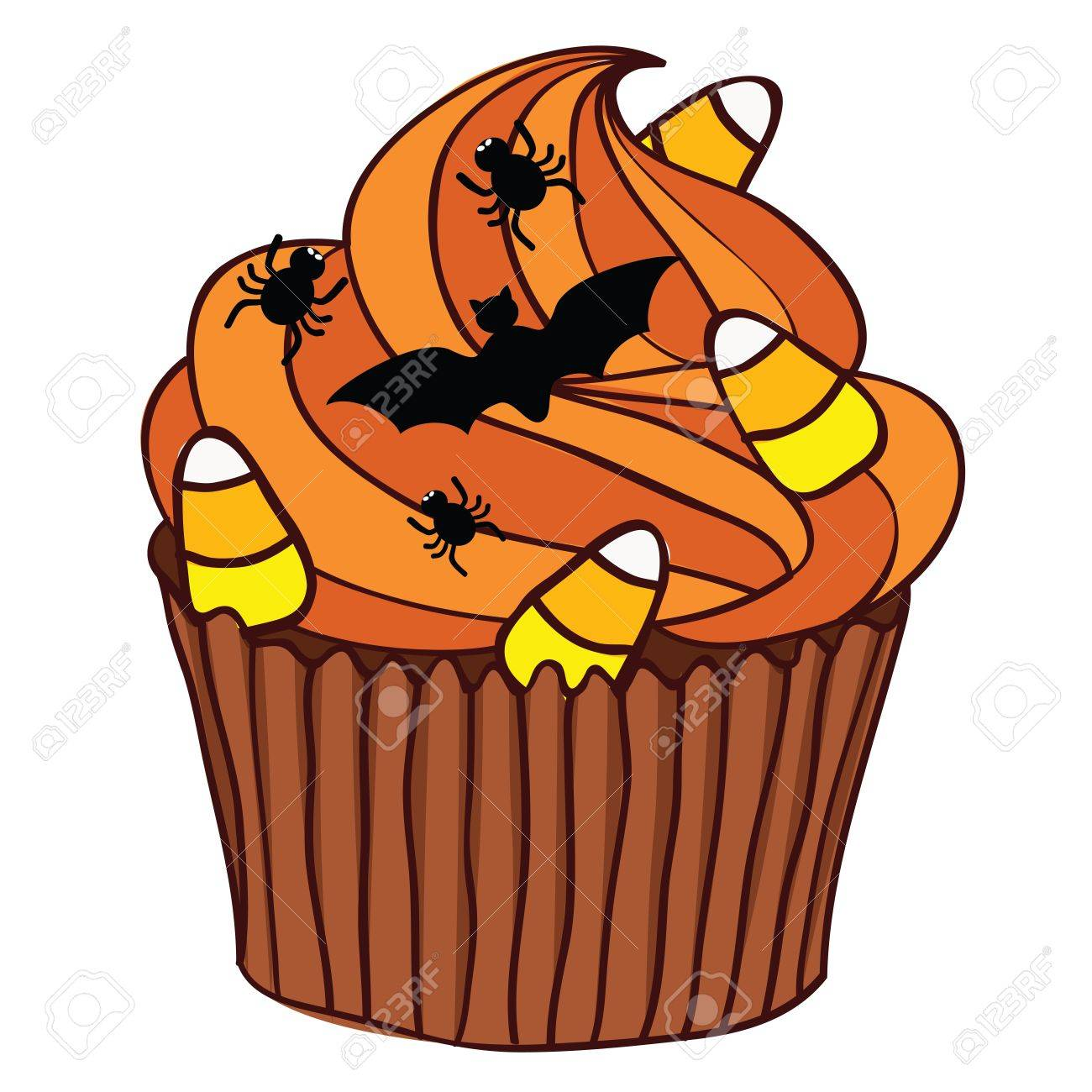 Halloween Spooky Cupcake with orange icing. Stock Vector - 10703613
