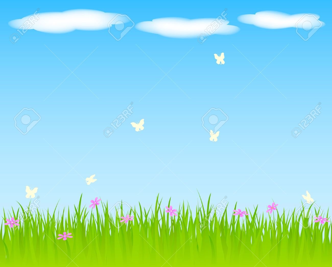Spring background with grass and flowers. Stock Vector - 10776240