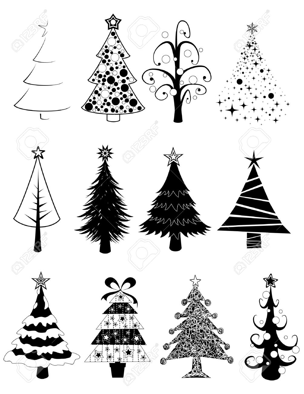twelve black and white isolated christmas tree set royalty free