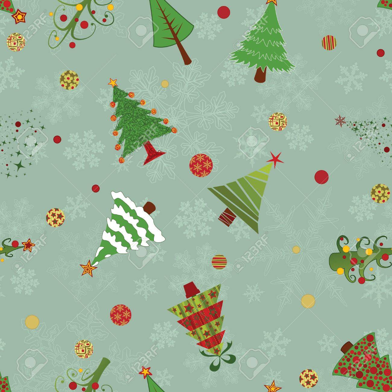 A seamless vector pattern with ten different christmas trees, snowflakes and decoration Stock Vector - 11200112