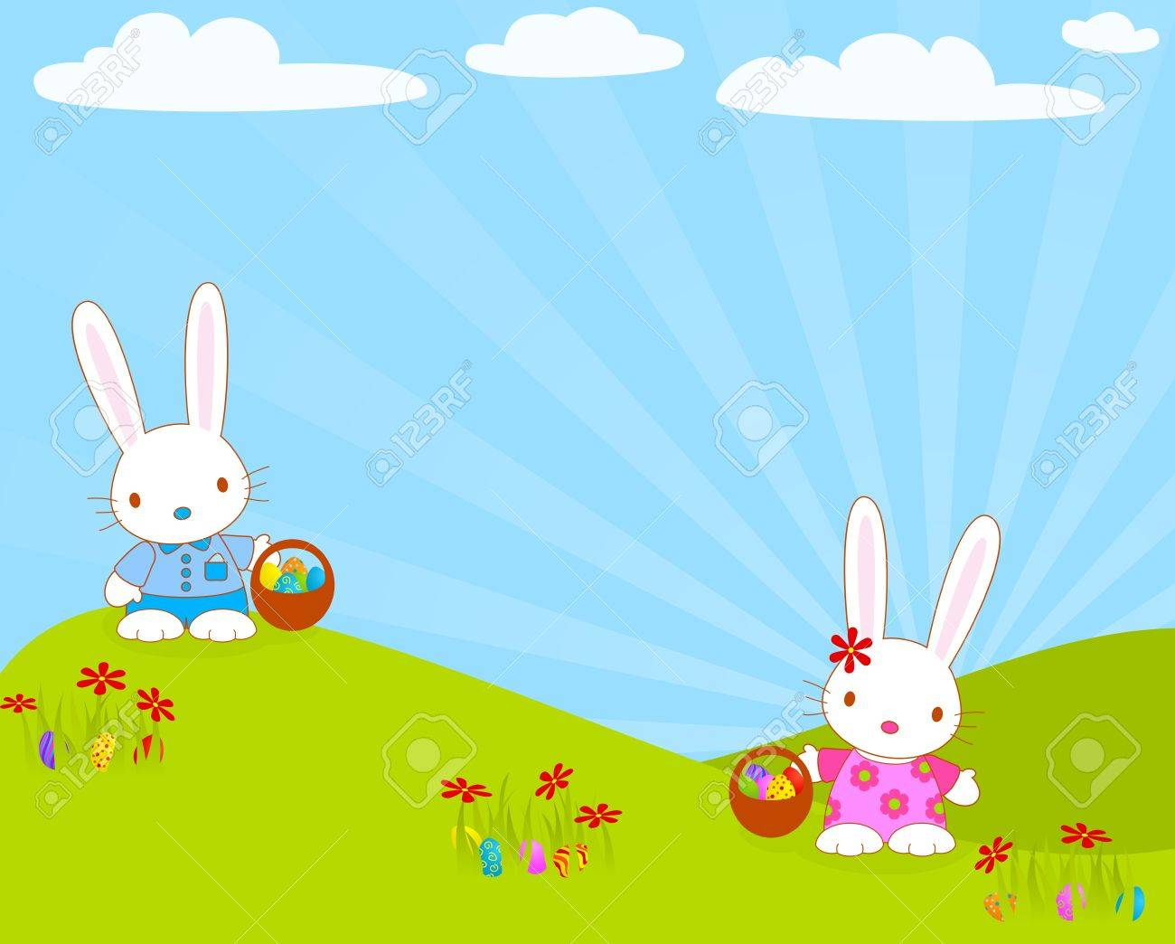 Easter bunnies with their baskets and eggs. Stock Vector - 12485167