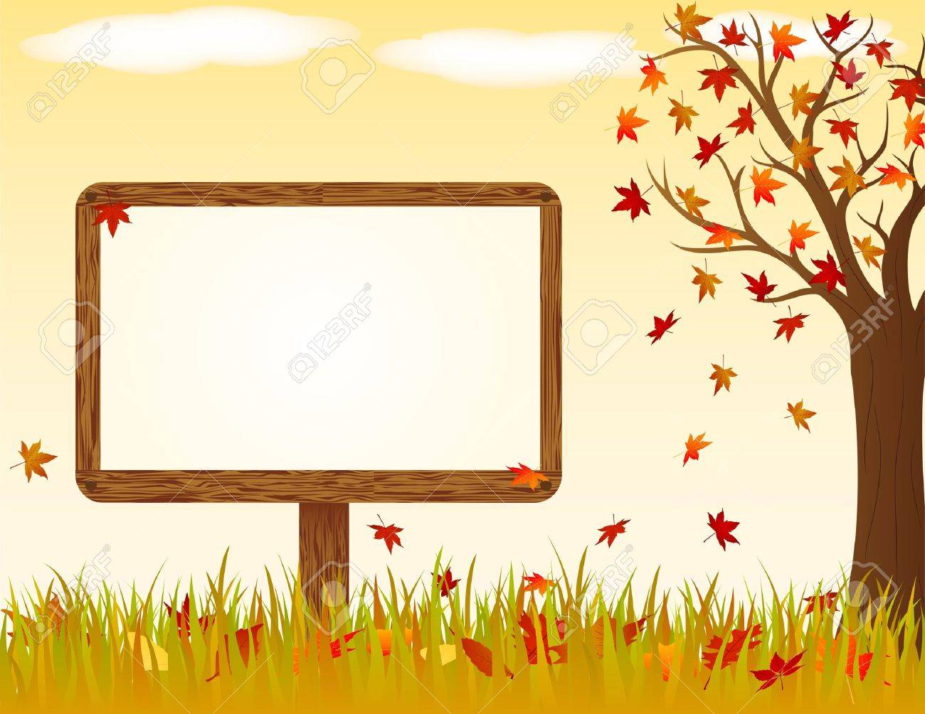 Autumn landscape with wooden banner Stock Vector - 15203408