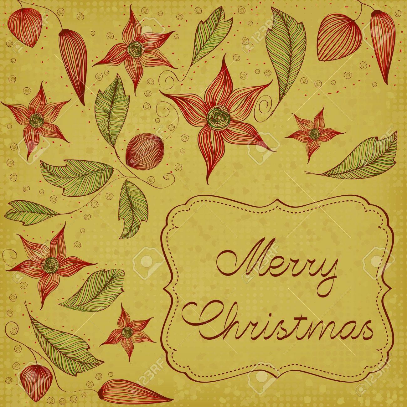 Art Nouveau Floral Christmas Card Royalty Free Cliparts, Vectors ...