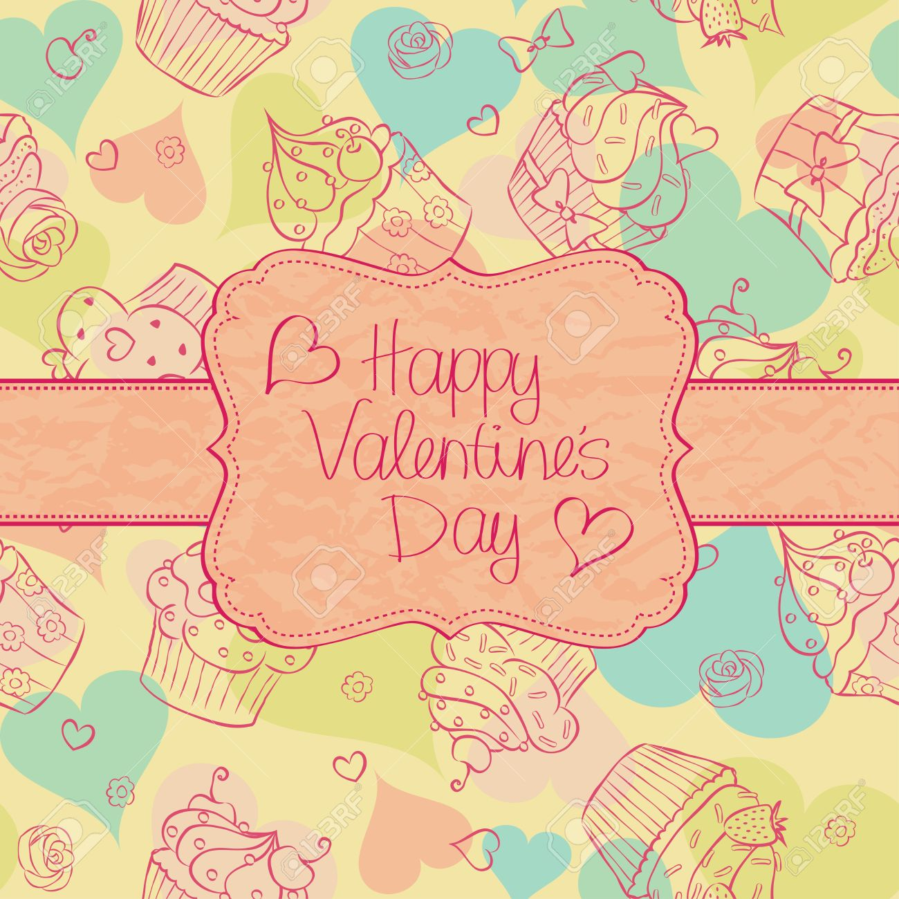 Valentine´s Day card with cupcakes seamless pattern on the background. Stock Vector - 17231101