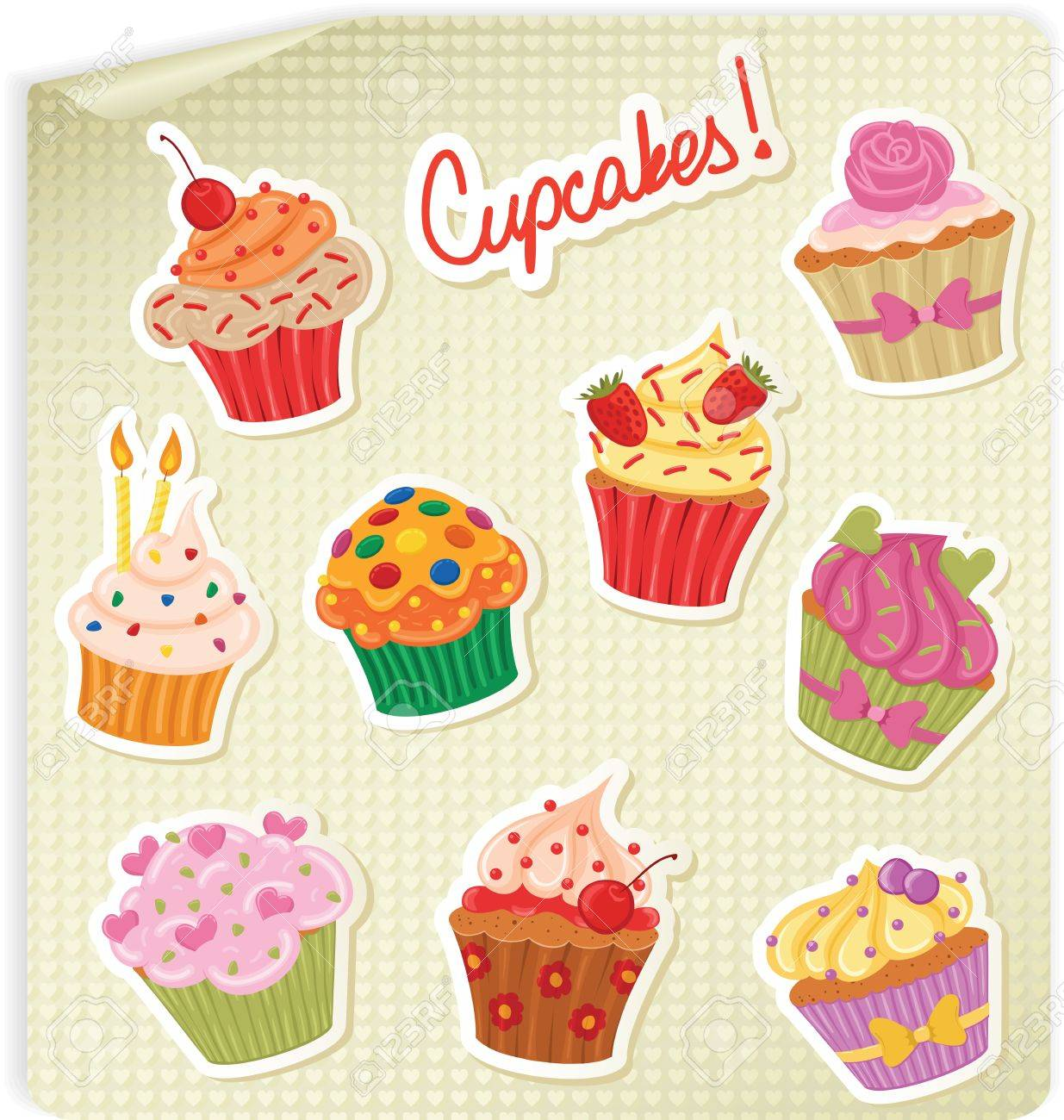 Cupcake Stickers On A Hearts Sheet Of Paper Royalty Free Cliparts