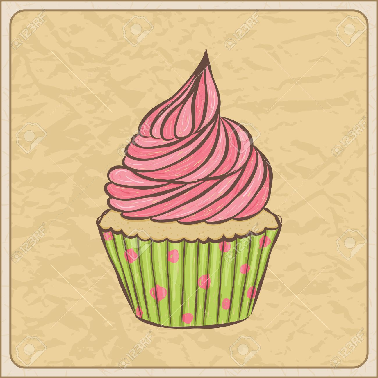 Hand drawn sketchy cupcake on a wrinkled paper. Stock Vector - 20068470