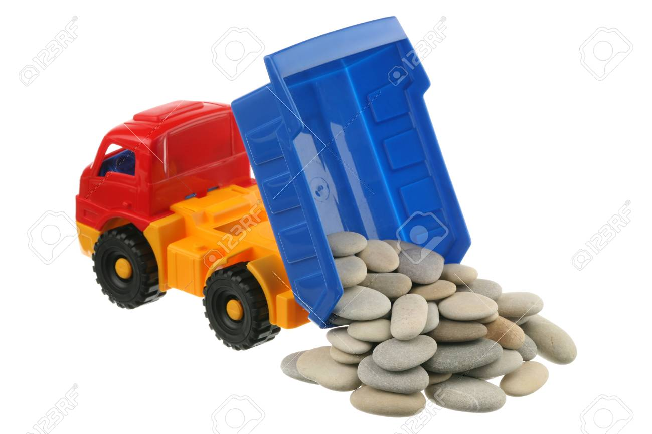 Stones in the truck are isolated on a white background Stock Photo - 9382498