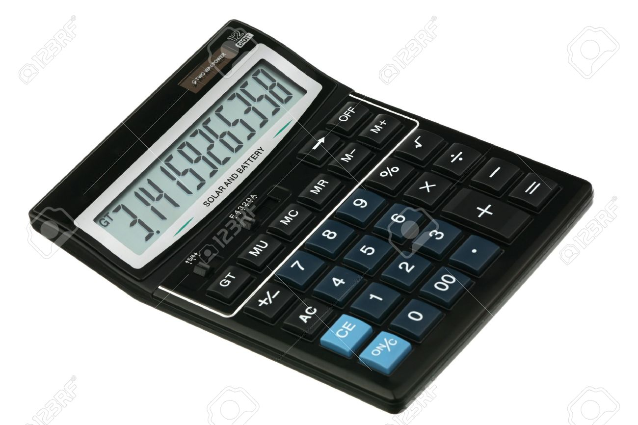 pi constant on the display of the new black calculator stock photo