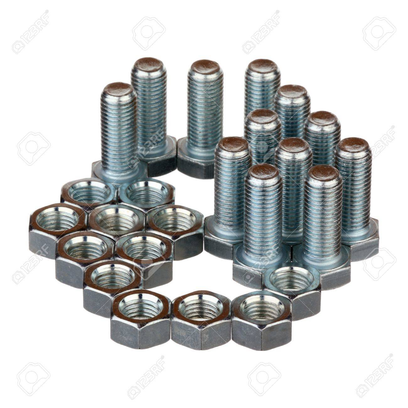 Screw bolts and nuts isolated over white background Stock Photo - 18760666