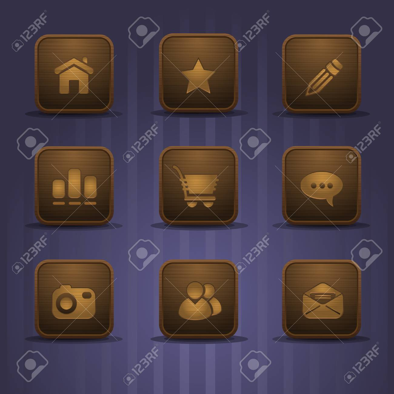 set of realistic wooden icons, part 1 Stock Vector - 8659299