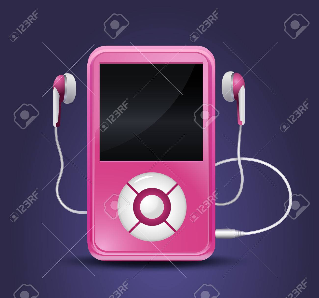 modern mp3 player with earphones Stock Vector - 8719407