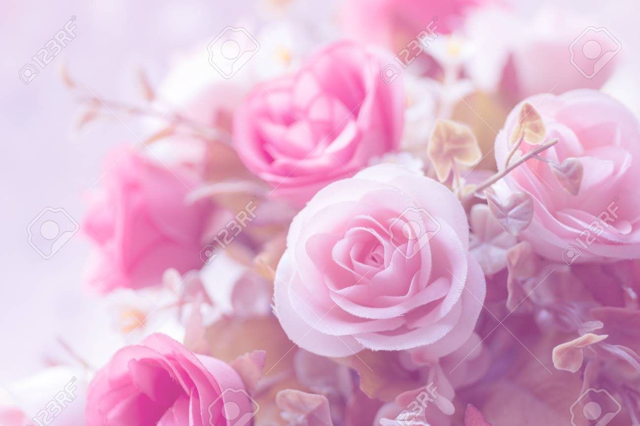 Beautiful Decoration Artificial Rose Flower Background For Valentine Day Or Wedding Card