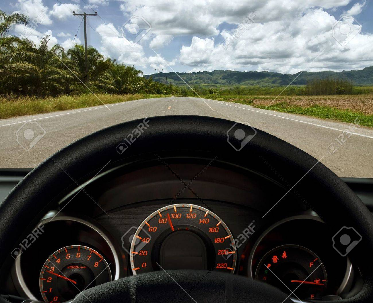 dashboard and road (travel by car) Stock Photo - 10711338