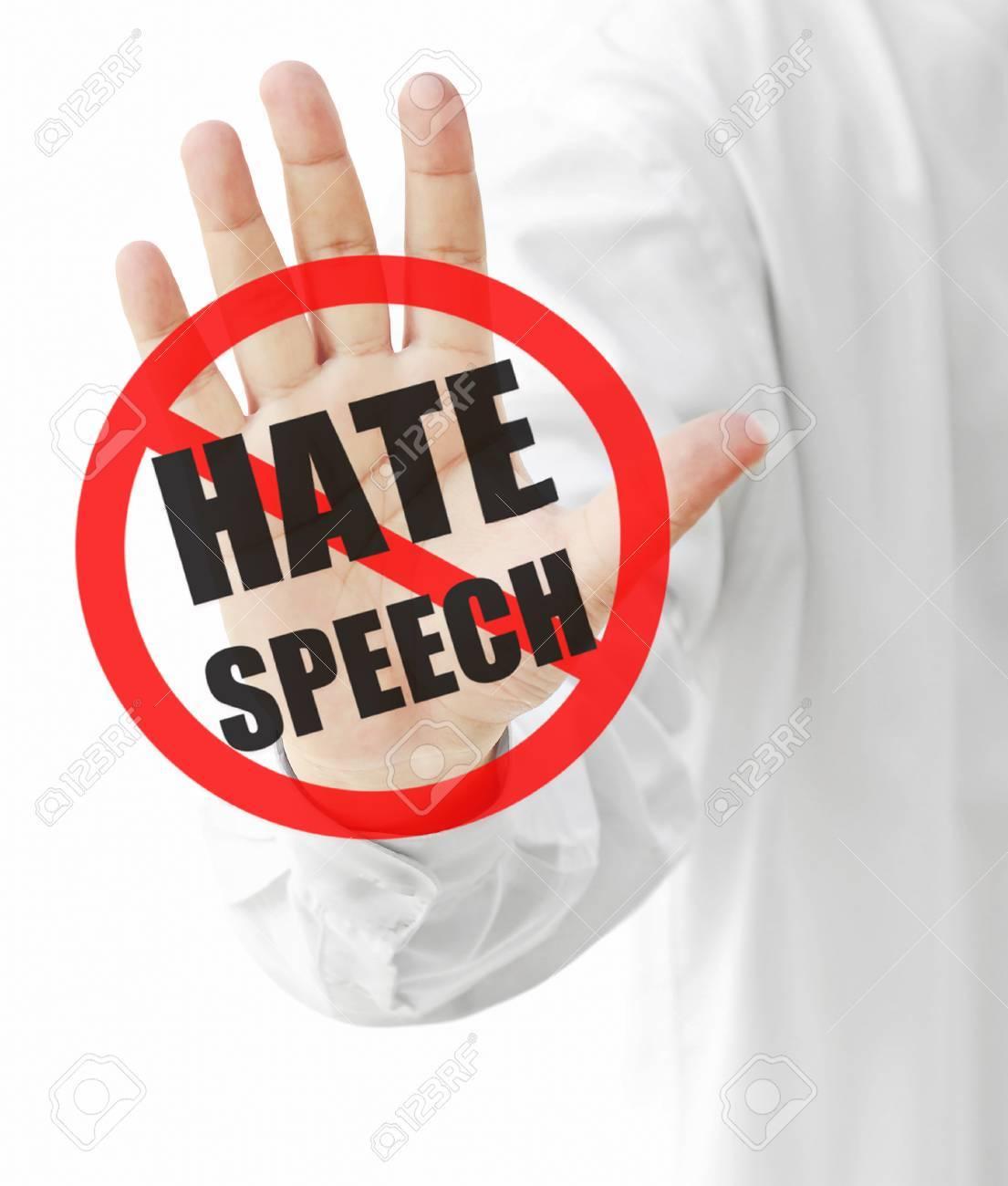 Señal De Stop Discurso De Odio En La Mano Fotos, Retratos ...