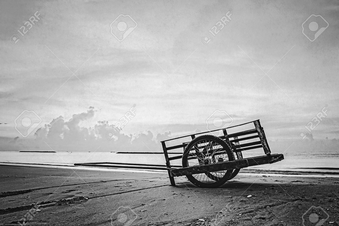 Cart on the beach black and white retro style stock photo 40613312