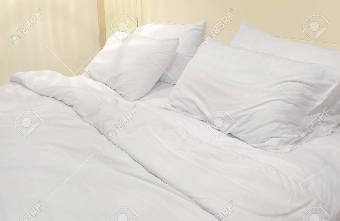 White bed sheet background - White Bed Sheets Does Not Apply Soft White Bed Sheets And Pillows Stock Photo 41360671