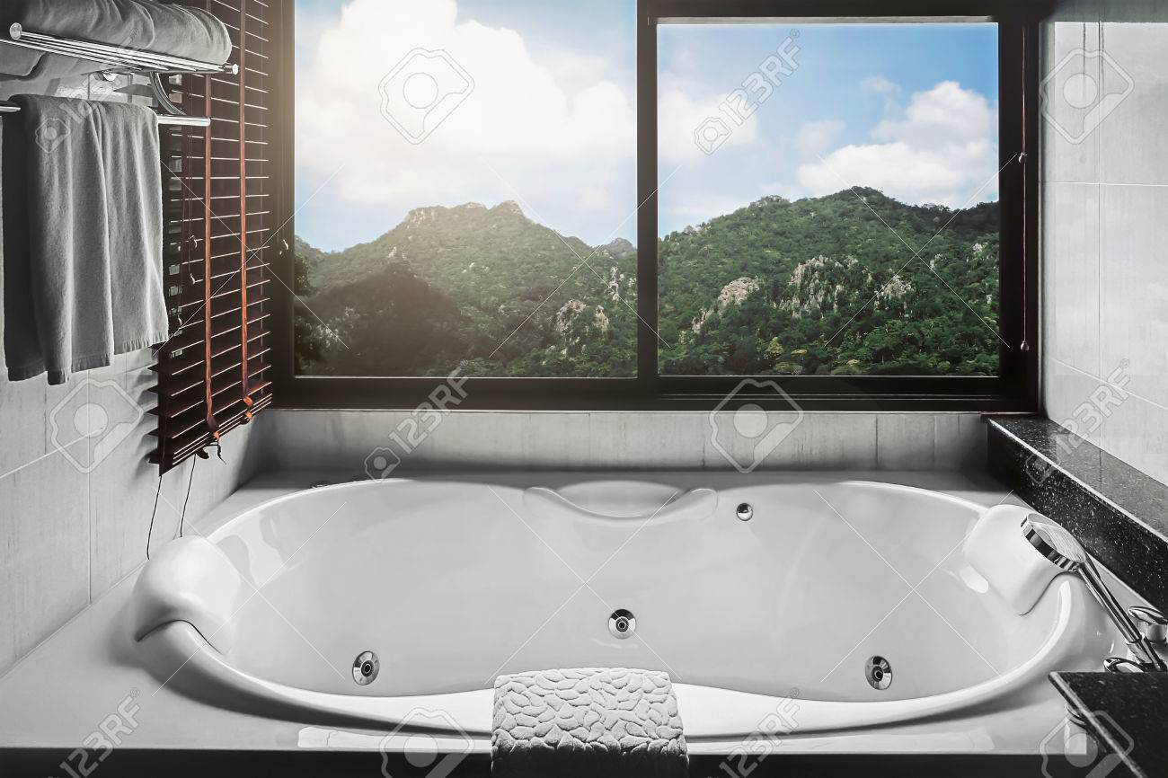 Jacuzzi Bath Tub With Mountain View Stock Photo, Picture And Royalty ...