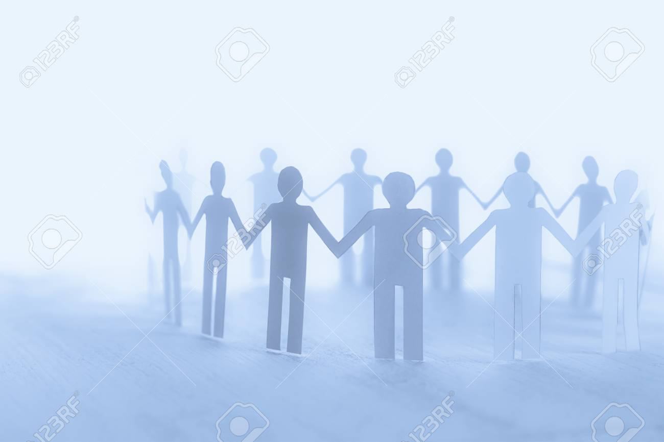 unity of paper human team work soft background
