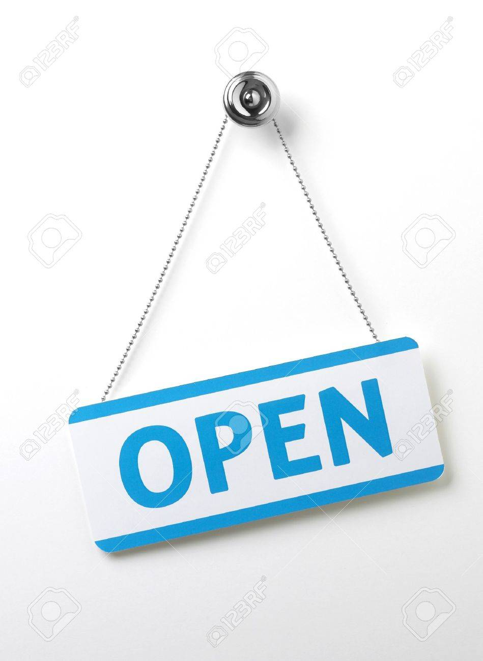 a process blue angled open door sign on a silver chain on a white background Stock Photo - 7924454