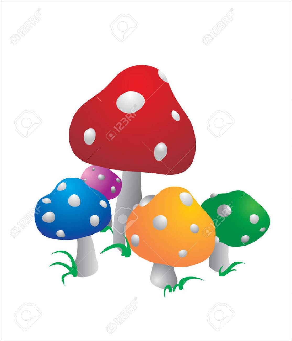 Five Multi Colored Color Mushrooms Royalty Free Cliparts Vectors